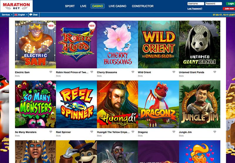 Выбор игр в казино